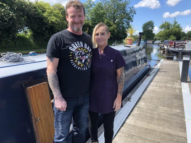 Lee Johnson and Michelle at their narrow boat