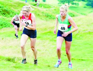 TITLE RUN: Chorley's Katie Ingram (left) at the World and Commonwealth Games Trials at Keswick.                                      Picture: NORMAN MATTHEWS