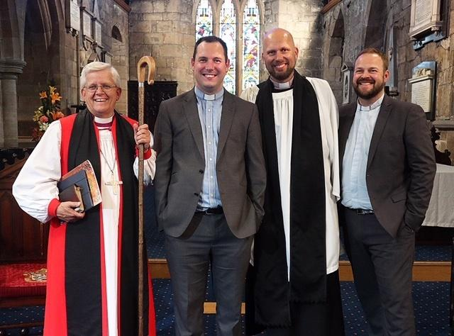 Right Reverend Julian Whitehouse, Bishop of Blackburn, Duncan Bell, Associate Vicar St Andrew's, David Whitehouse, Vicar St Andrew's, Matt Cook, Associate Vicar, St Andrew's