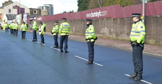Police officers outside Turf Moor during a derby between Burnley and Blackburn Rovers which saw eight arrested