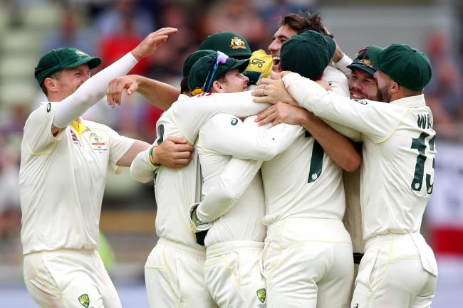 Australia players celebrate after defeating England by 251 runs