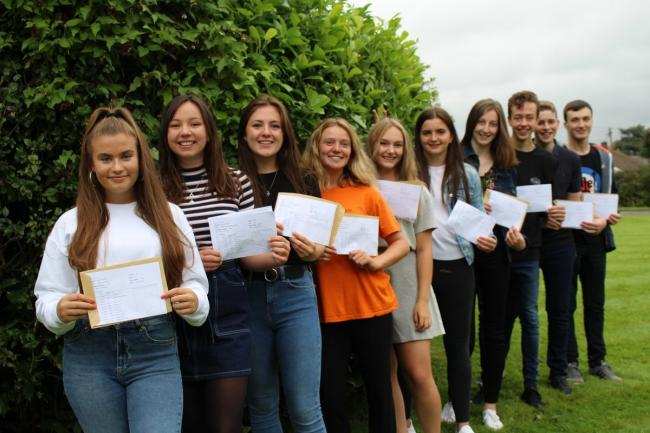 St Michaels School pupils with their GCSE results