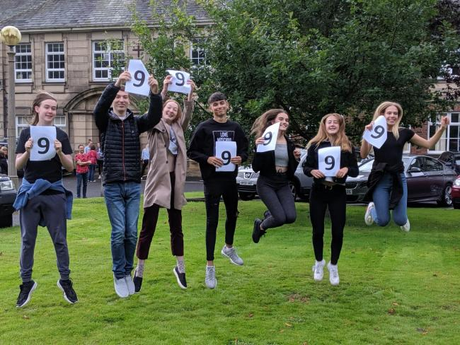 Students from Balshaws celebrating their results