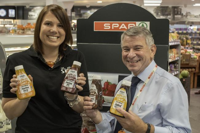 Suzanne Castel-Nuovo (customer support manager from The Skinny Food Co) and Robert Eggo (SPAR G&E Murgatroyd area manager from James Hall & Co)
