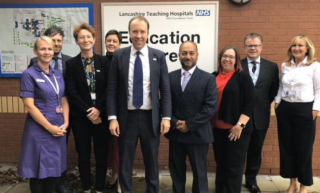 Secretary of State for Health and Social Care Matt Hancock visiting Chorley and South Ribble Hospital