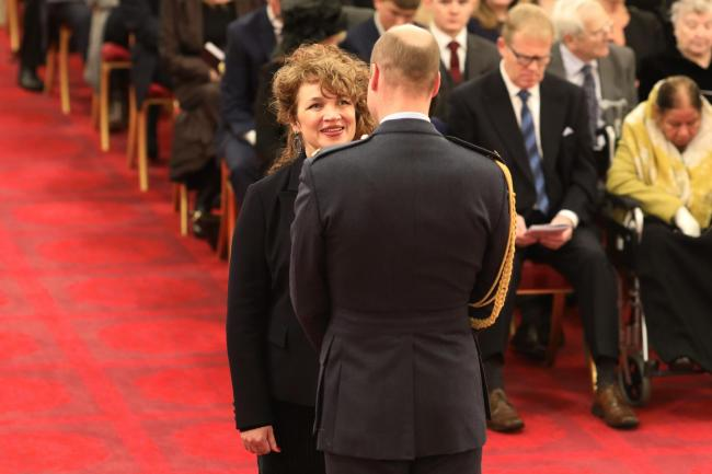 Jacqui Dankworth receives her MBE from the Duke of Cambridge