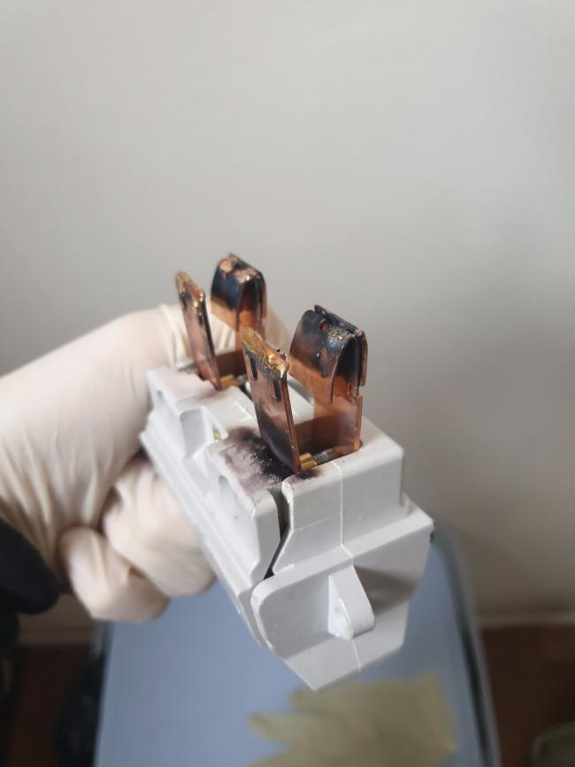 A burnt fuse removed from a cannabis farm set up in Burnley