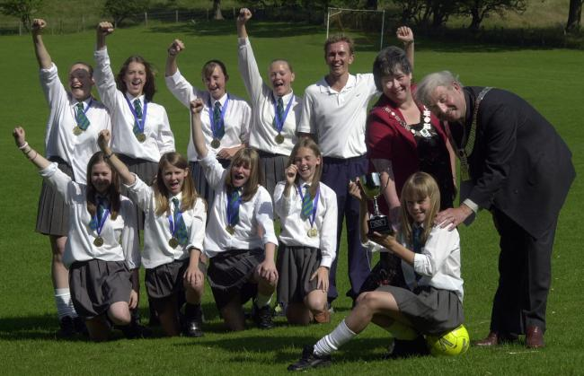 The Bowland High School team celebrates in 2003