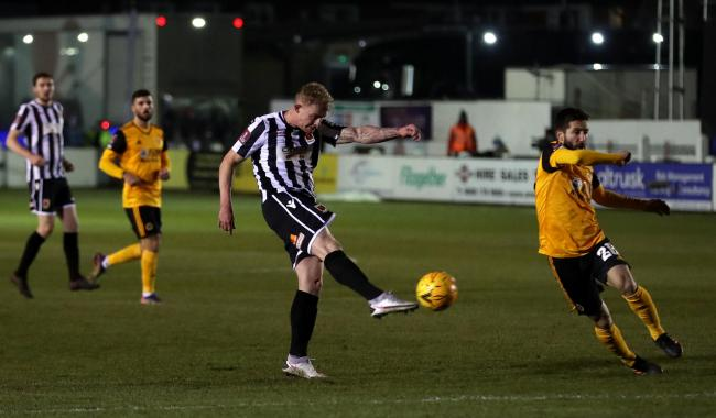 Willem Tomlinson goes for goal for Chorley