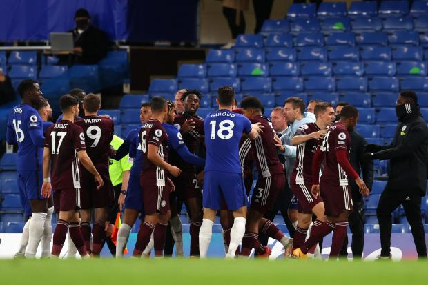 Tempers flared late on in Chelsea's win over Leicester
