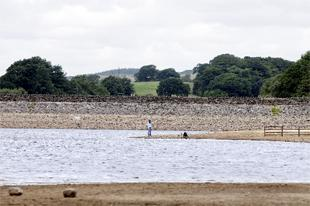 SO LOW: Rivington reservoir was way below its normal summer level before the rain fell in July