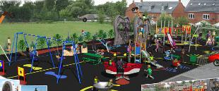 A computer generated image of the new Fairview play area chosen by children in Adlington.