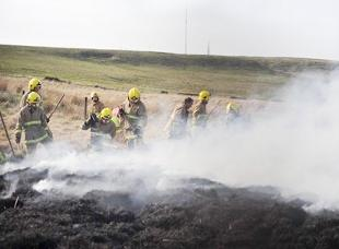 smoke screen Firefighters dampen down the flames at Belmont
