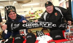 SPORTING CHANCE: Brian Parker and Mark West at Chorley FC's market stall