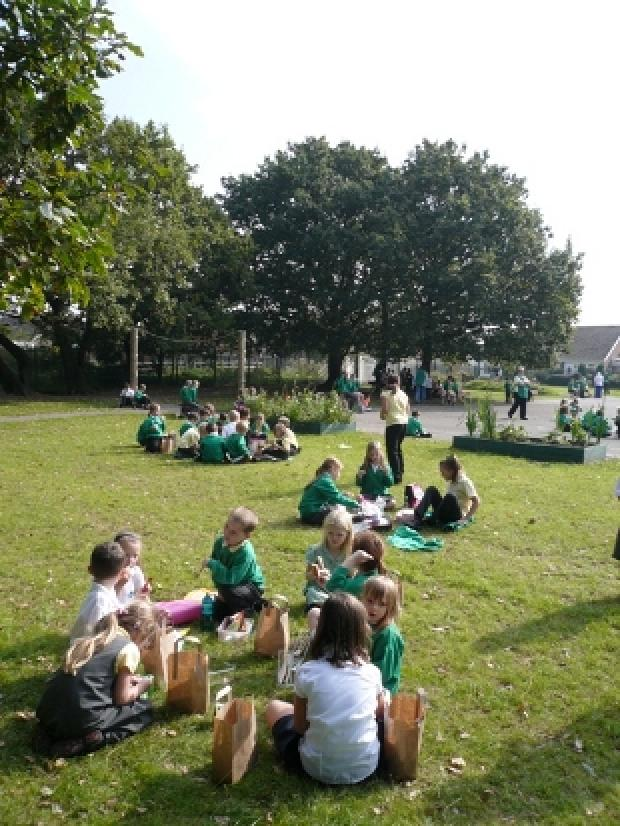 PICNIC TIME: Pupils dine al fresco last summer