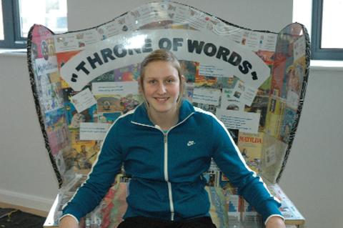 Holly bleasdale sits in the Throne of Words