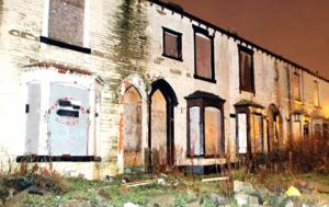 Run-down homes in Burnley.