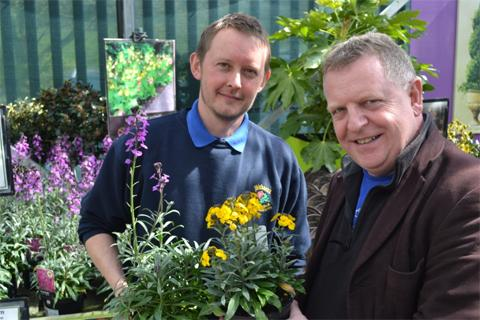Jason Adams from Birkacre Nurseries and Garden Centre and CCH's Richard Houghton launch Brighter Blooming Chorley.