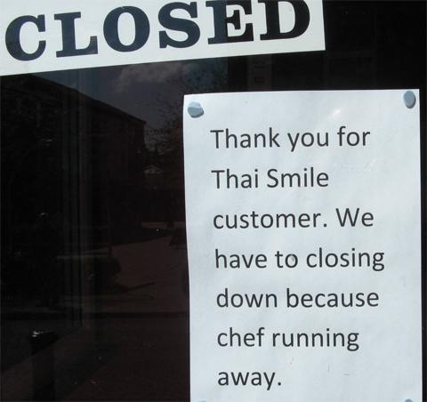 The sign at Thai Smile.