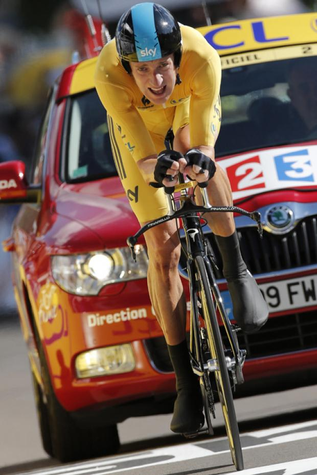 Wiggins in the yellow jersey at this year's Tour de France