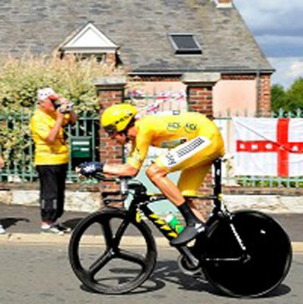 Wiggins on his way to winning yesterday's time trial to secure his Tour de France win