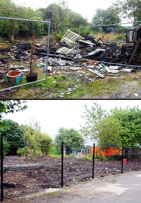 The site before and after the clean-up