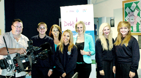 BBC presenter Steph McGovern and team with and Southlands pupils