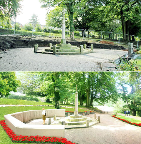 Top: work has begun at the memorial. Bottom: How the memorial will look when the work is complete.