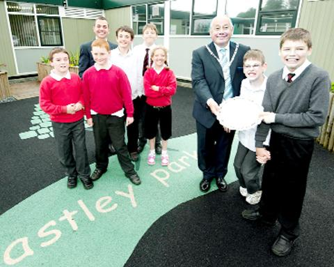 County Councillor John Shedwick with pupils and staff