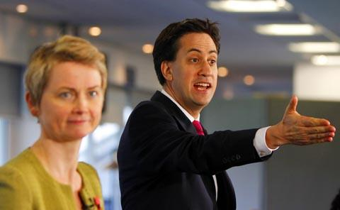 Yvette Cooper and Ed Miliband campaigning in Preston today. Photo: PA
