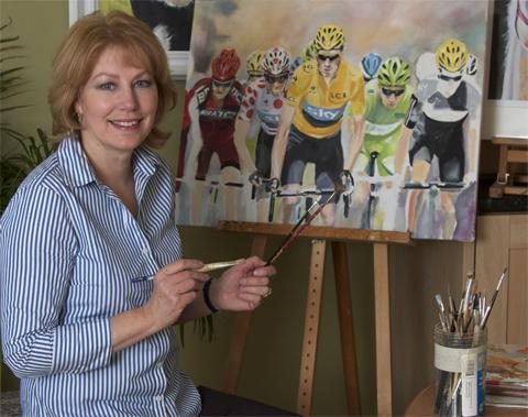 Glynis Kidson with her painting