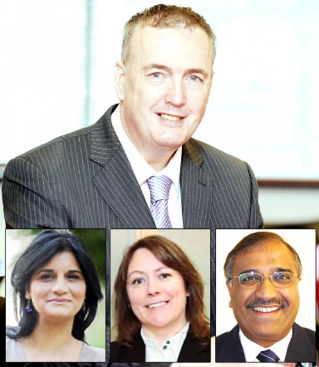 Police commissioner Clive Grunshaw and new appointments Saima Afzal, Amanda Webster and Bruce Jassi