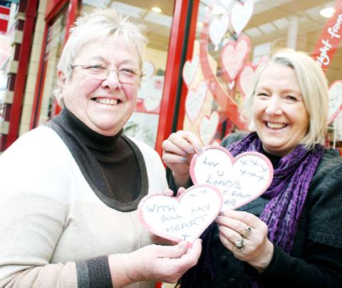 Teresa Gilliland, left, and Suzanne Ellis at the BHF store in Market Walk