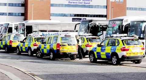 Police at Ewood Park for the last derby