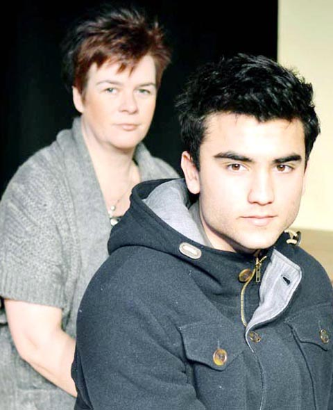 Joanne Cunliffe (Mrs Casper) and Lewis Wren (Billy Casper)