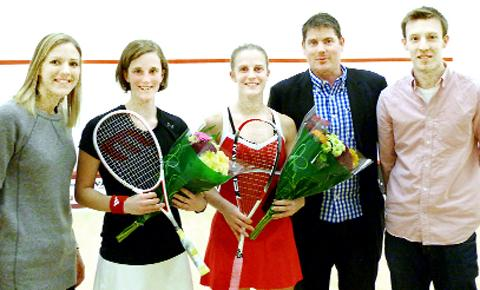 Laura Massaro, runner-up Vicky Lust, winner Emma Beddoes, Richard Ingle director of CourtCare, co-orgniser Chris Lengthorn