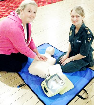 Coun Kim Snape, left, and paramedic Cheryl Pickstock at Chorley Town Hall defibrillator training event