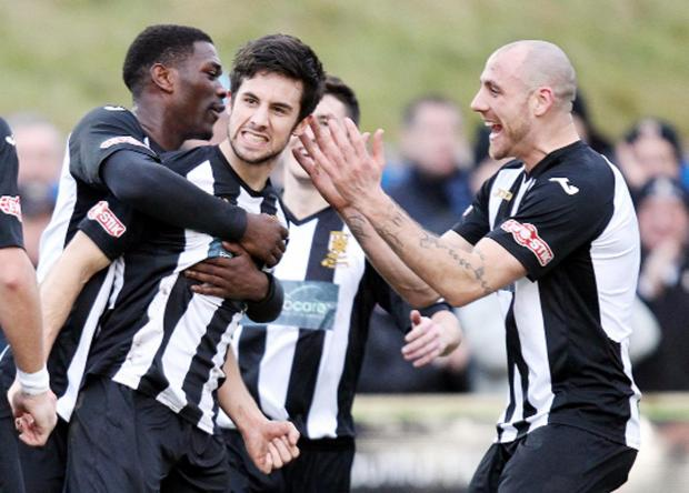 Chorley celebrate one of their four goals 	Picture: KIPAX