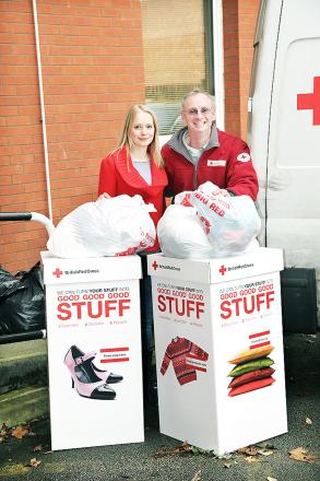 DONATIONS: Helen Walsh with the Red Cross's John