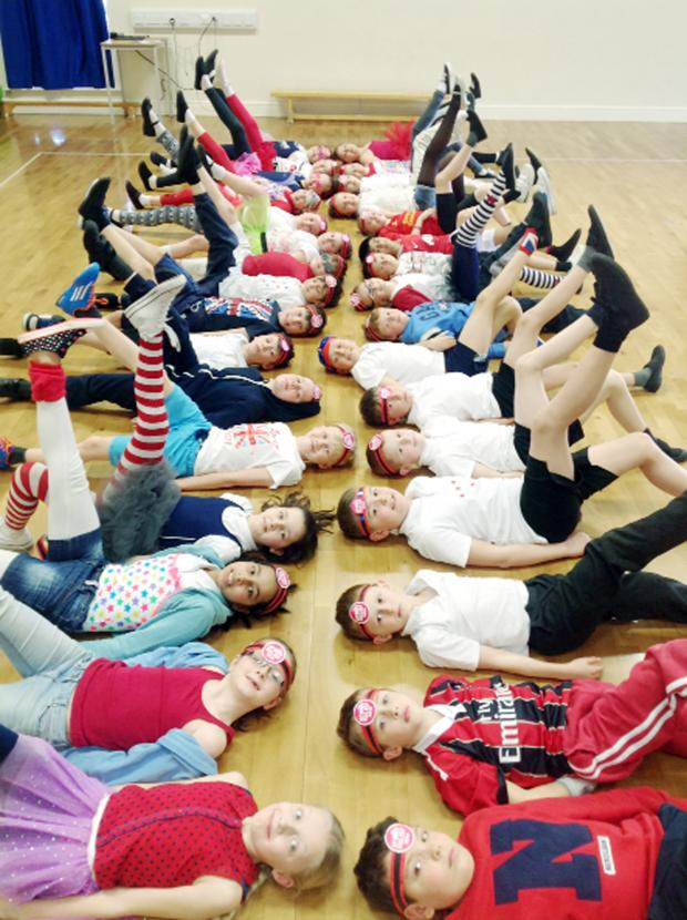 Chorley Citizen: Year 5 pupils at Trinity CE Methodist Primary try dry land synchronised swimming for Sport Relief
