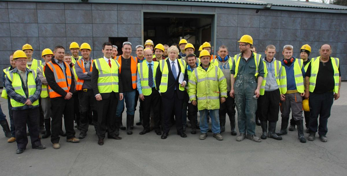 Boris Johnson with staff at Shackerley (Holdings) Group, Euxton, which makes ceramic granite cladding for Tube stations
