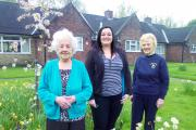 IN BLOOM: From left, resident Evelyn Norris, Samantha Hornsby and Jeanette Lowe from the Adlington in Bloom group