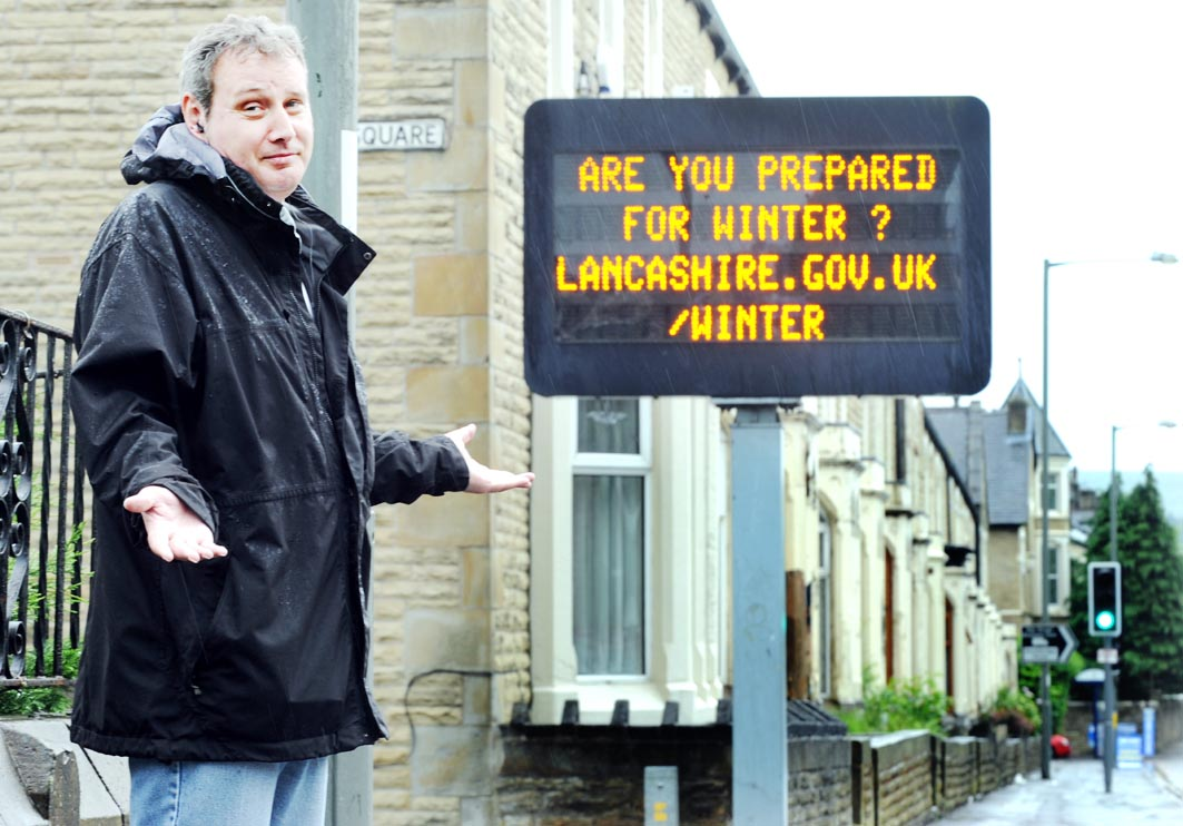 BONKERS: East Lancs traffic sign asks us to prepare for winter ... in June