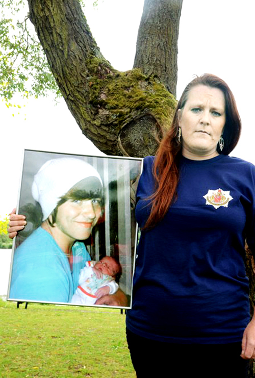 MOTHER'S WARNING: Beckie Ramsey, with a picture of her son Dylan