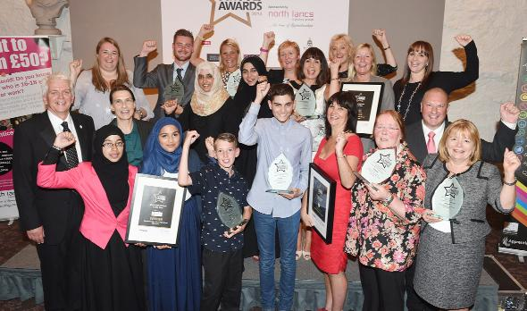 Chorley Citizen: Winners celebrate after  the Lancashire Telegraph Education Awards at Stanley House