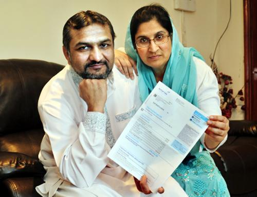 Hamid Ahmed and Nahida Paveen with the 'devastating' bill