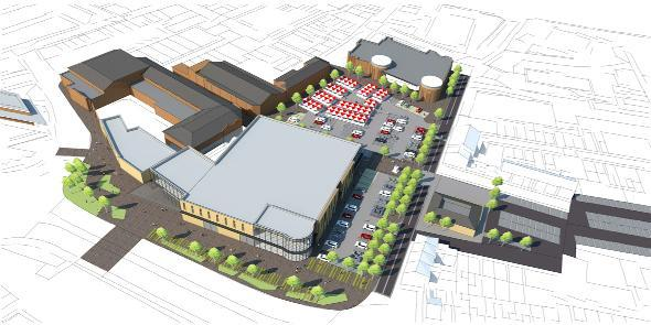 An artist's impression how the  shopping centre extension in Chorley could look