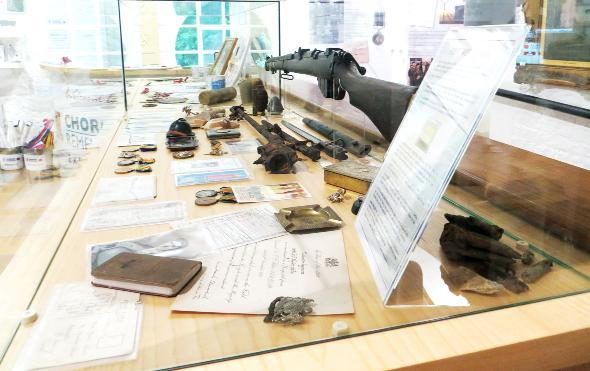 on show A display of artefacts from the First World War at Astley Hall