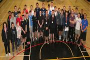 SPORTING STAR: Chris Tuson with the Runshaw students