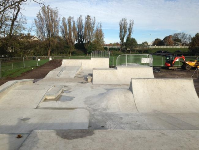 Nearing completion: One of the ramps at the new skate park at Jubilee Recreation Ground, Adlington